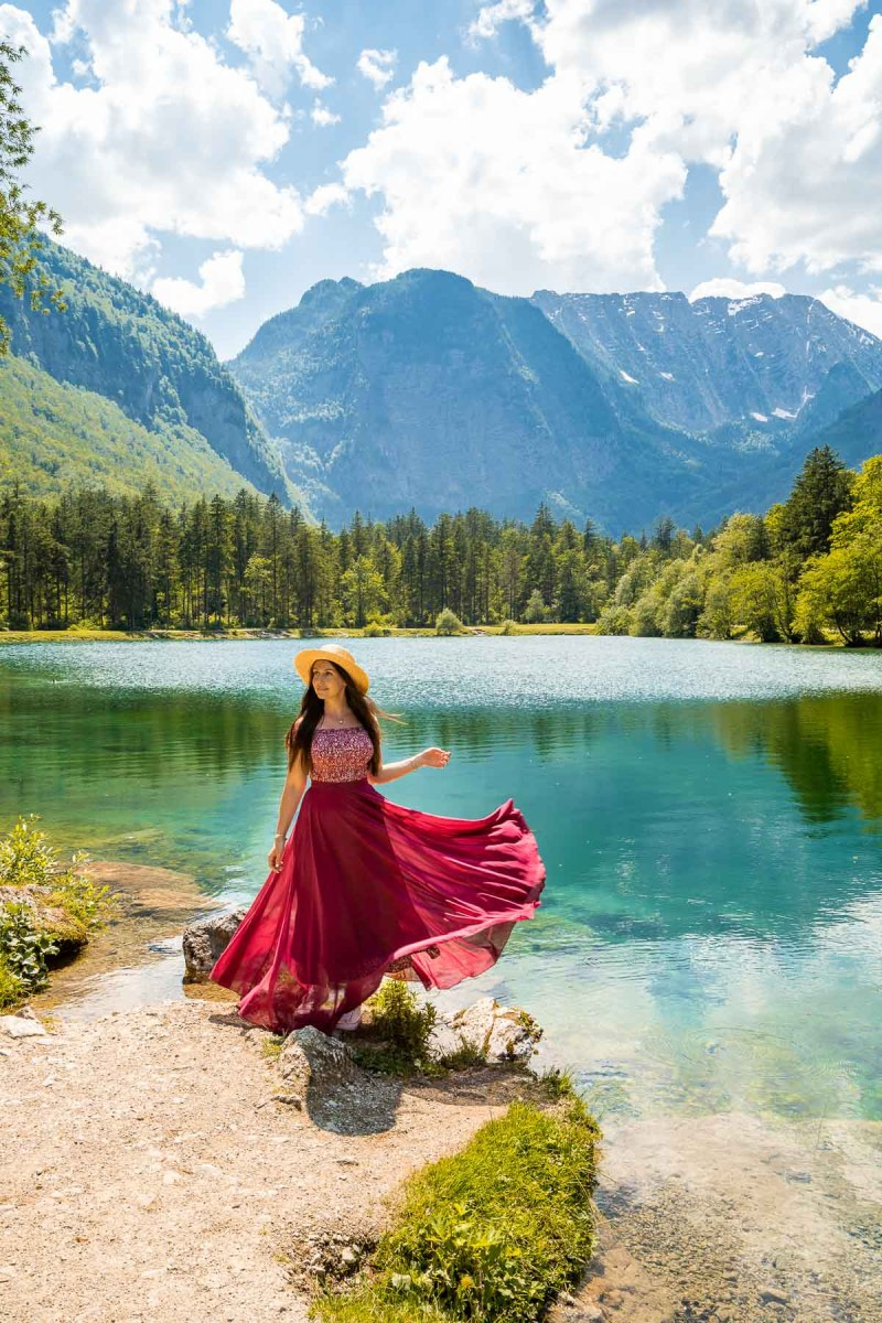 Girl in a red dress in front of Bluntausee, Austria
