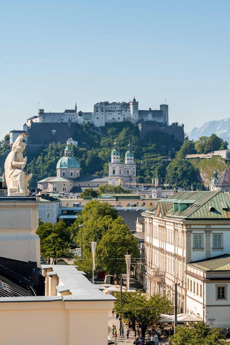 Panoramic view of Salzburg from Imlauer Skybar