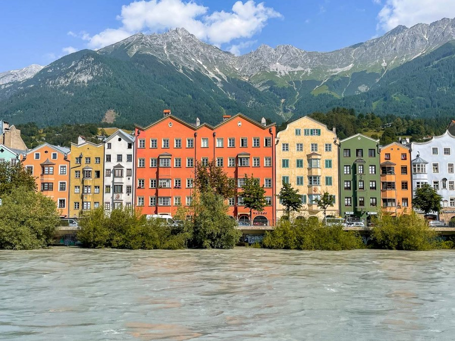 Colorful houses by the river in Innsbruck, Austria
