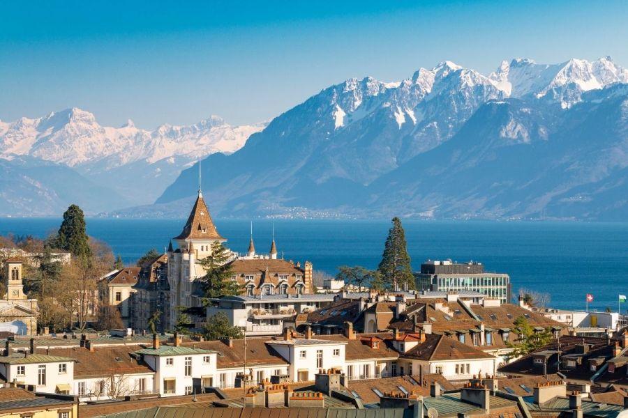 Panoramic view of Lausanne, Switzerland