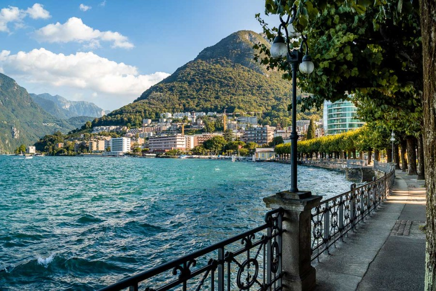 Lakeside promenade at Lugano, Switzerland