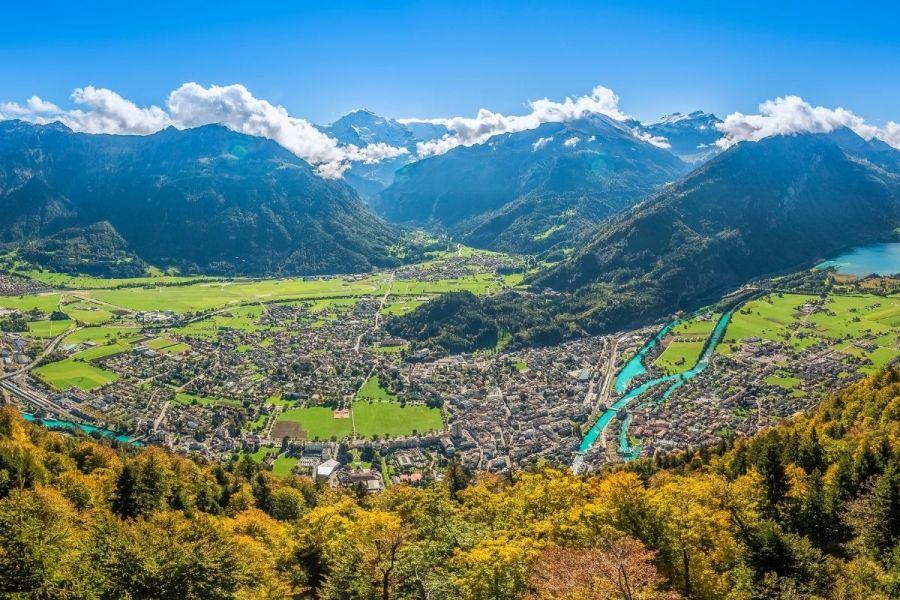 Panoramic view from Harder Kulm, Interlaken