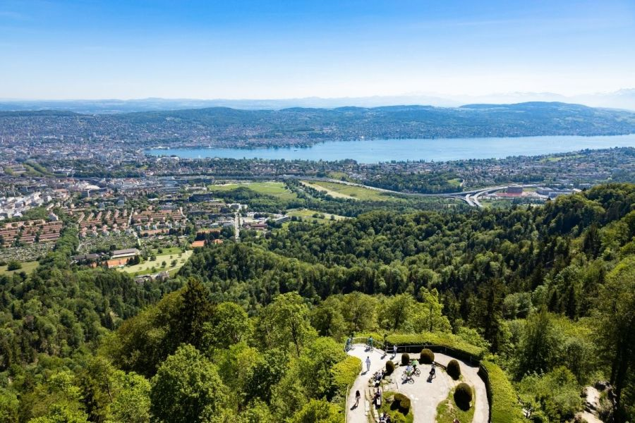 Panoramic view of Zurich from Uetliberg Viewpoint