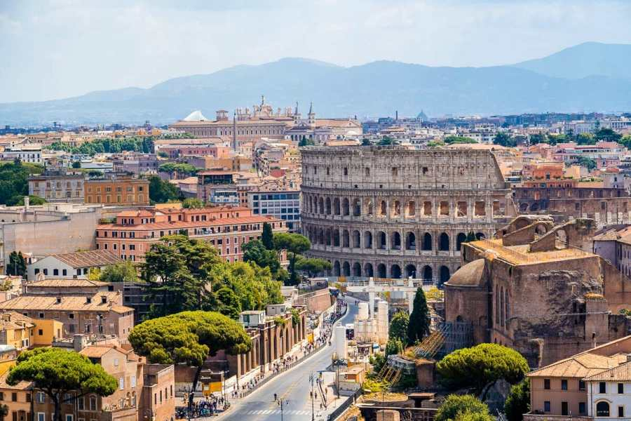 Panoramic view of the Colosseum in Rome, Italy