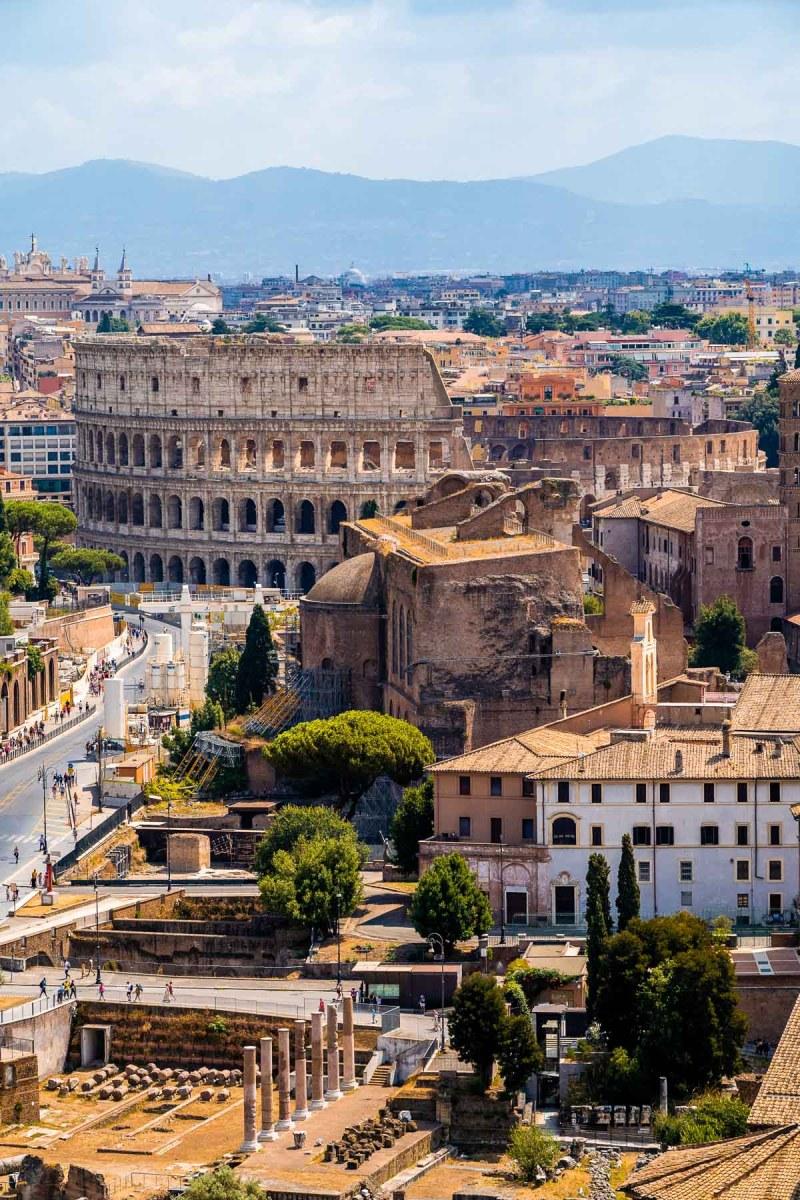 Panoramic view from the top of Altare della Patria, Rome