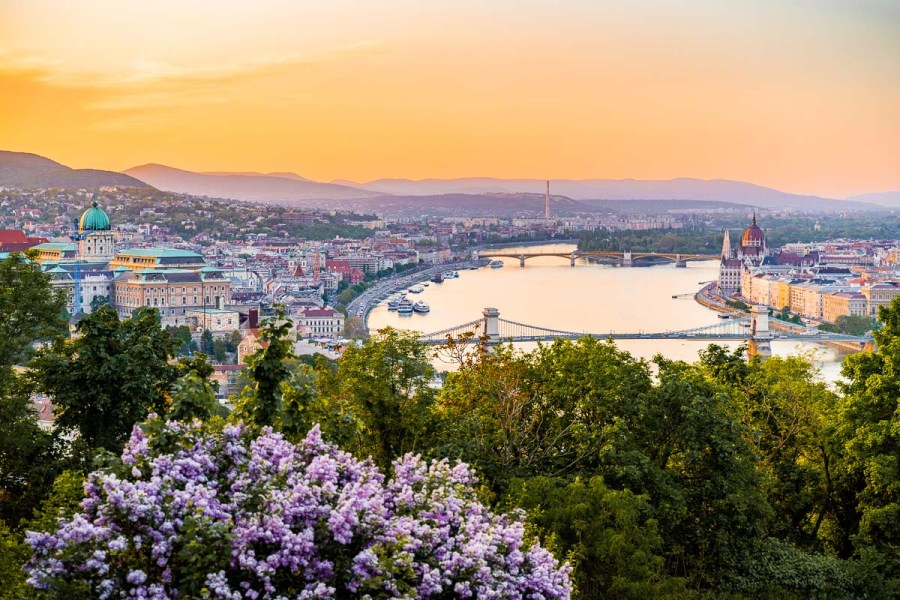 Sunset from the Citadel in Budapest