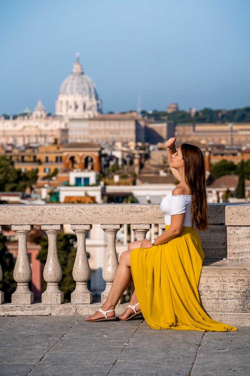 Girl in a yellow skirt at Terrazza del Pincio, Rome