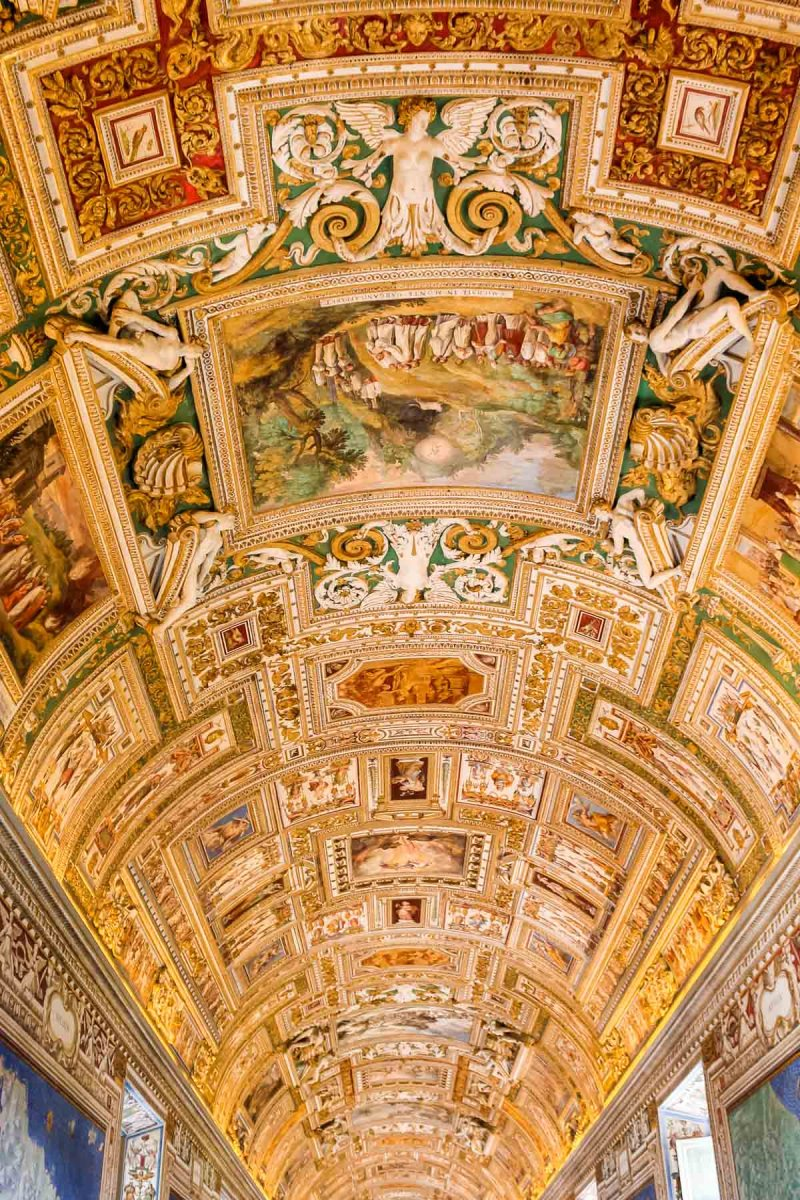 Golden ceiling at the Vatican Museums