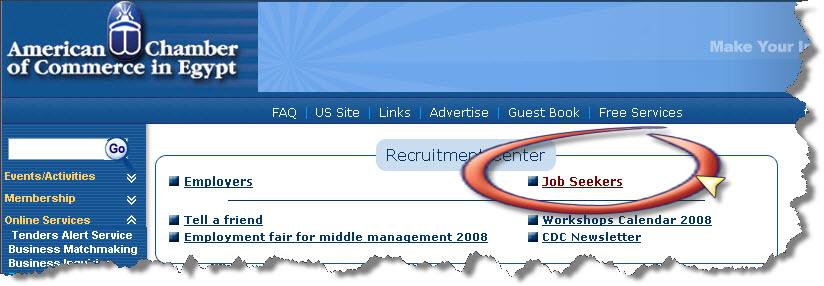 استخدام موقع الغرفة الامريكية في البحث عن وظيفة (2/4)