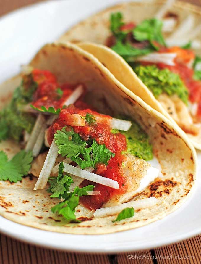 Fish Tacos Recipe | shewearsmanyhats.com