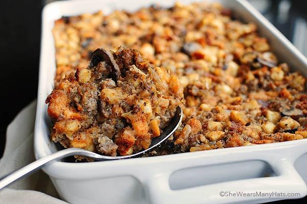 Sausage and Mushroom Stuffing Recipe | shewearsmanyhats.com