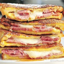 Monte Christo Sandwiches put on top of each other
