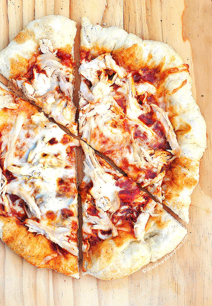 BBQ Chicken Pizza Recipe shewearsmanyhats.com
