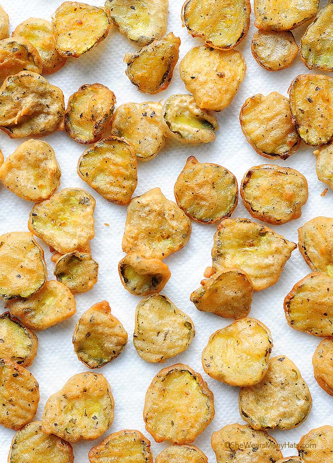 fried pickles on a sheet