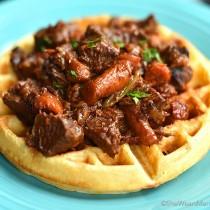 Beer Cornbread Waffles with beef stew