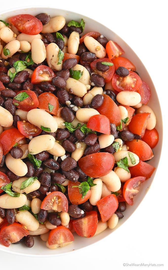 White and Black Bean Salad Recipe with Tomatoes, Basil and Garlic