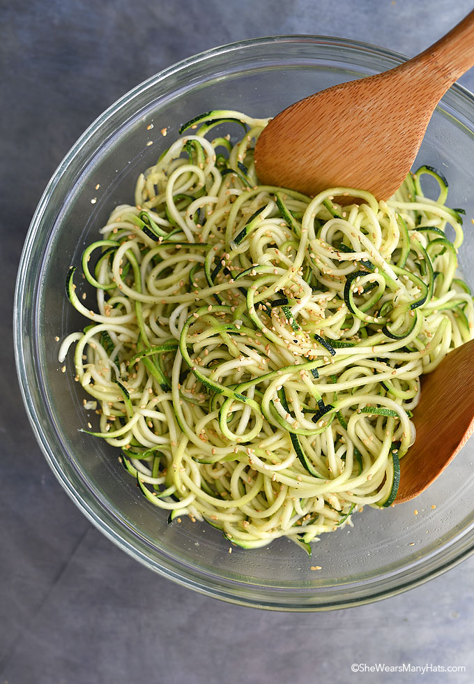 Sesame Zucchini Noodles Recipe shewearsmanyhats.com