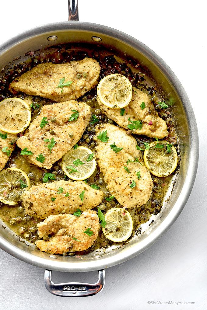 Chicken Piccata Recipe from shewearsmanyhats.com