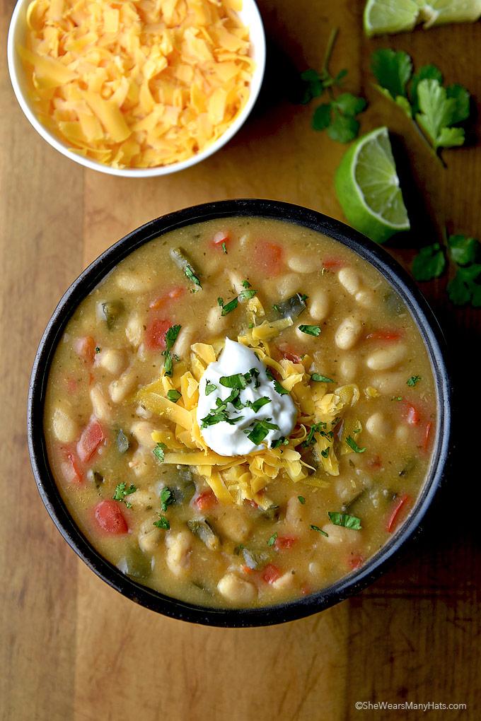 Meatless Poblano White Bean Chili Recipe | shewearsmanyhats.com