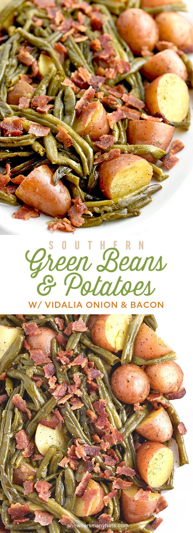 Southern Green Beans and Potatoes with Vidalia Onion and Bacon Recipe   shewearsmanyhats.com