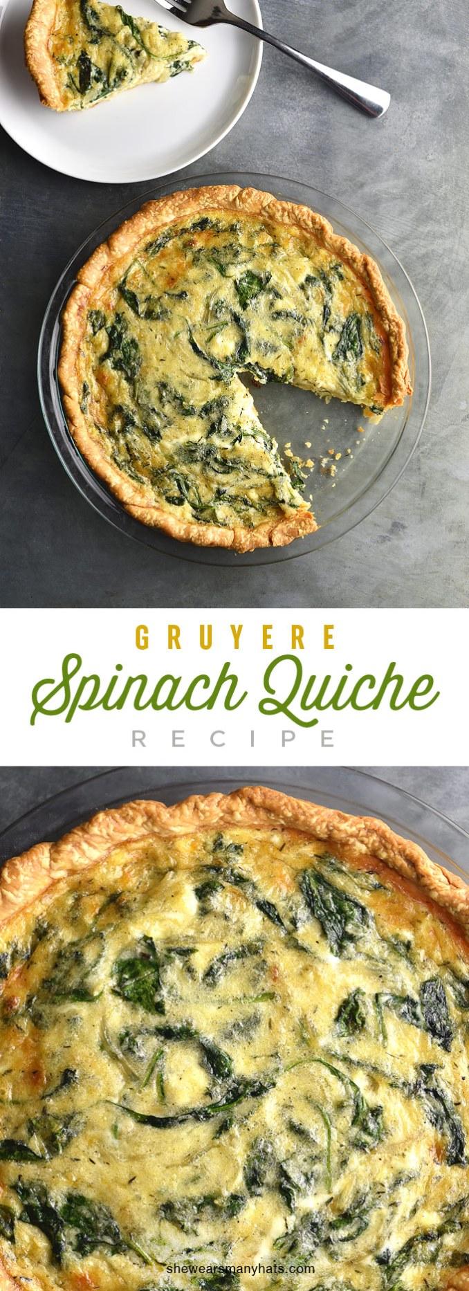 Sautéed Onion Gruyere Spinach Quiche Recipe   She Wears