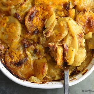 Bacon Potatoes au Gratin Recipe | shewearsmanyhats.com