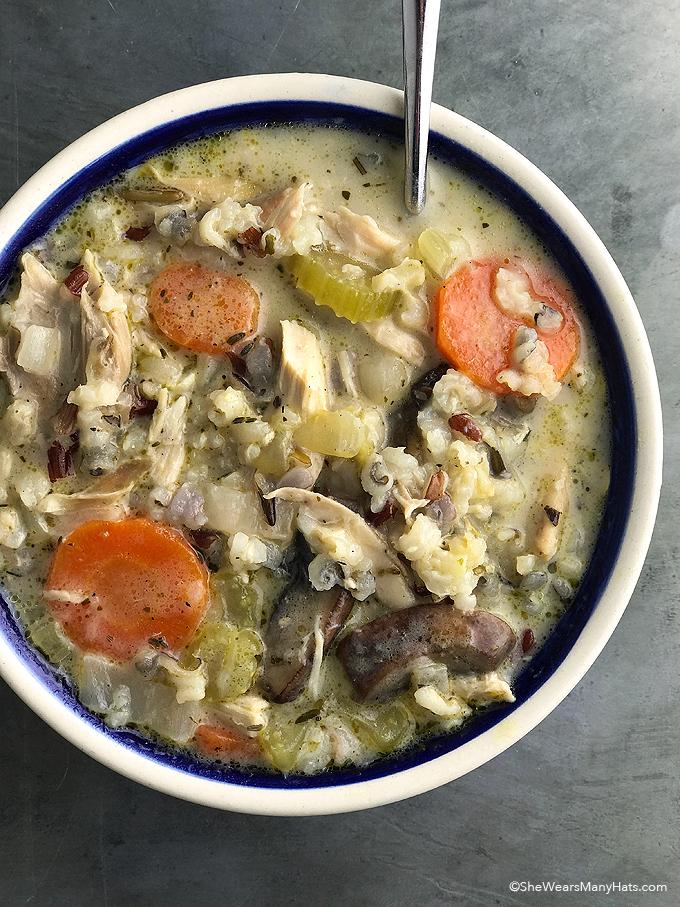 Easy Creamy Chicken Wild Rice Soup Recipe | shewearsmanyhats.com