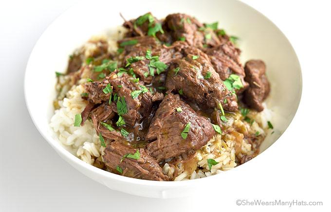 Easy Stew Beef and Rice Recipe   shewearsmanyhats.com