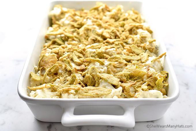 Easy Cauliflower Cheese Casserole Recipe with Crispy Jalapeños | shewearsmanyhats.com