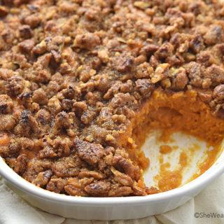 Sweet Potato Casserole Recipe with Pecan Topping | shewearsmanyhats.com