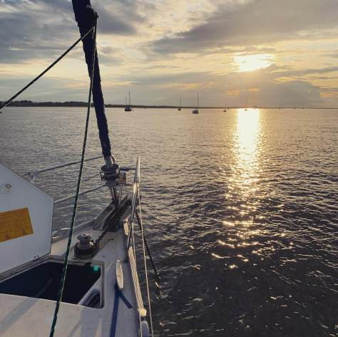The sun set as we dropped our anchor