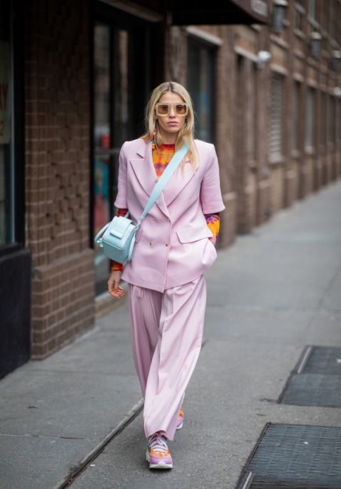 pastel suit with vibrant tie dye at NYFW