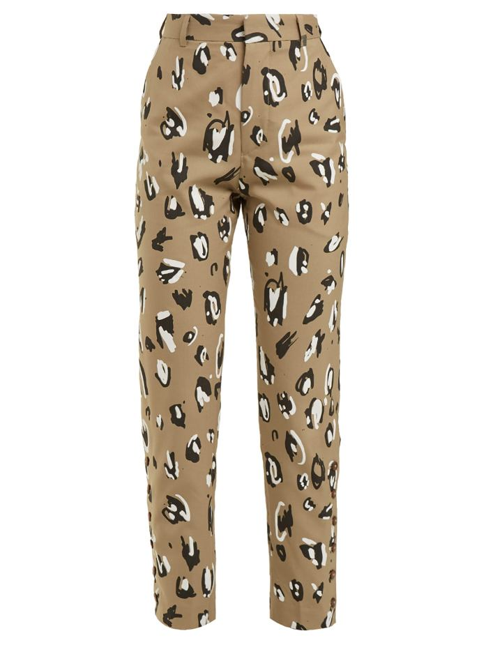 unconventional work wear option: Leopard-print straight-leg trousers