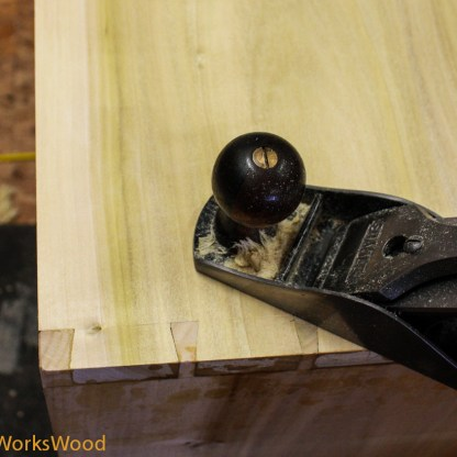 I used my hand plane to clean up the dovetails.