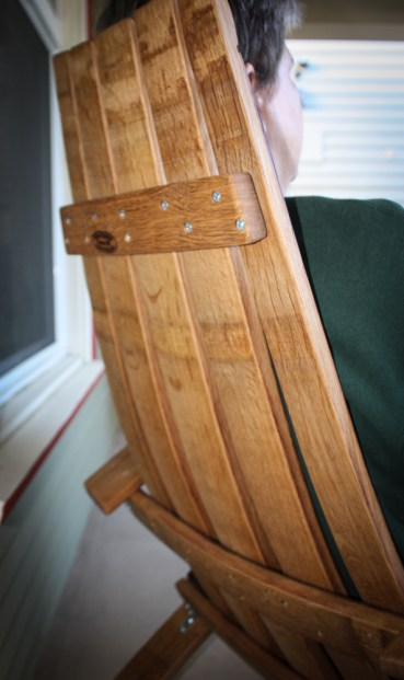 Keith uses the existing barrel stave curves to make a super comfy chair.