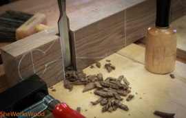 Once I traced the dovetails onto the handles, I chopped them out with a chisel.