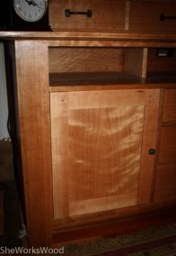 Curly cherry re-sawn doors.