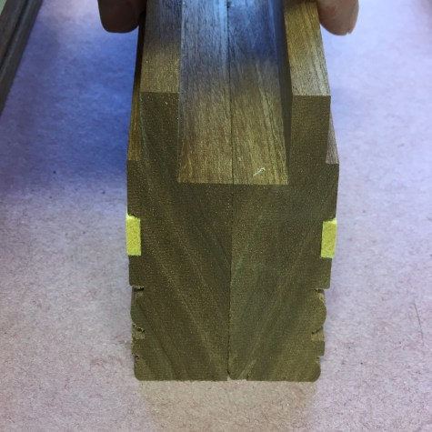 Matching the corresponding miters using my finger to determine by feel that they are even.