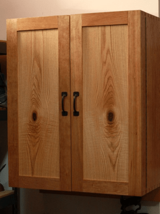 Cherry and oak tool cabinet