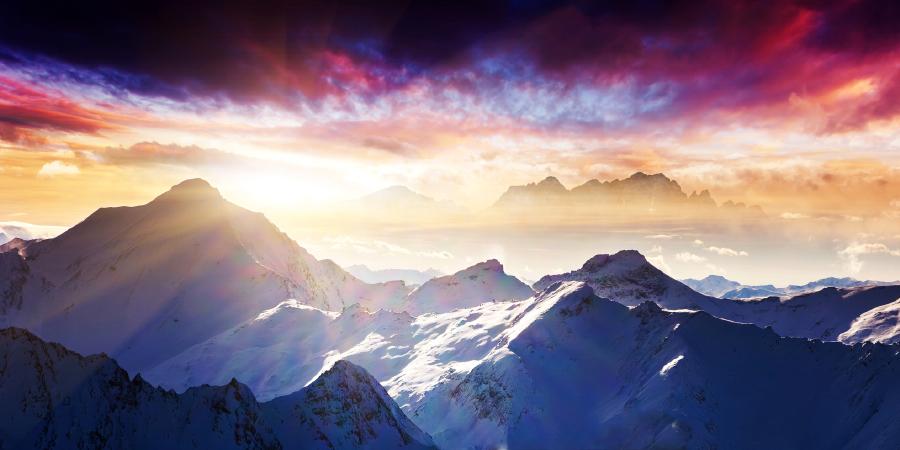 Австрийские горы на закате