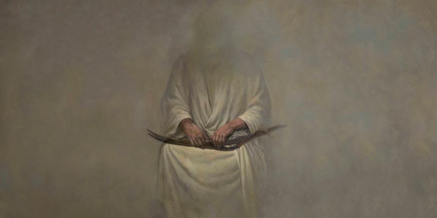Картина, изображающая Имама Али с Зульфикаром на коленях