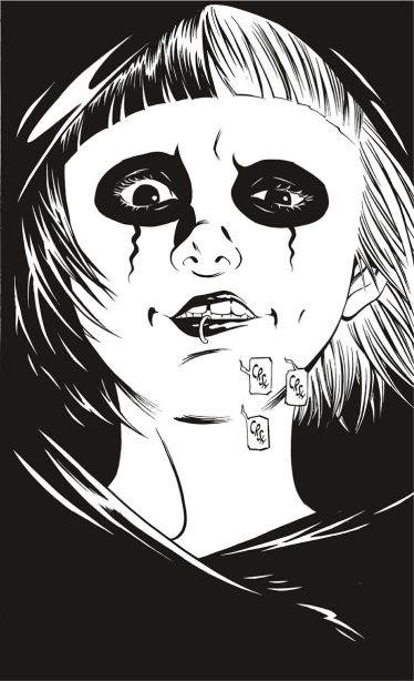 Nous avons ici une planche peinte dans sa totalité en noir, permettant d'accentuer ainsi les très de Deathco, avec un maquillage plutôt déganté.