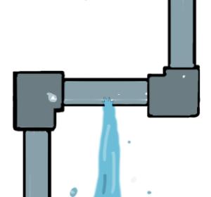 水道管破裂のイラスト