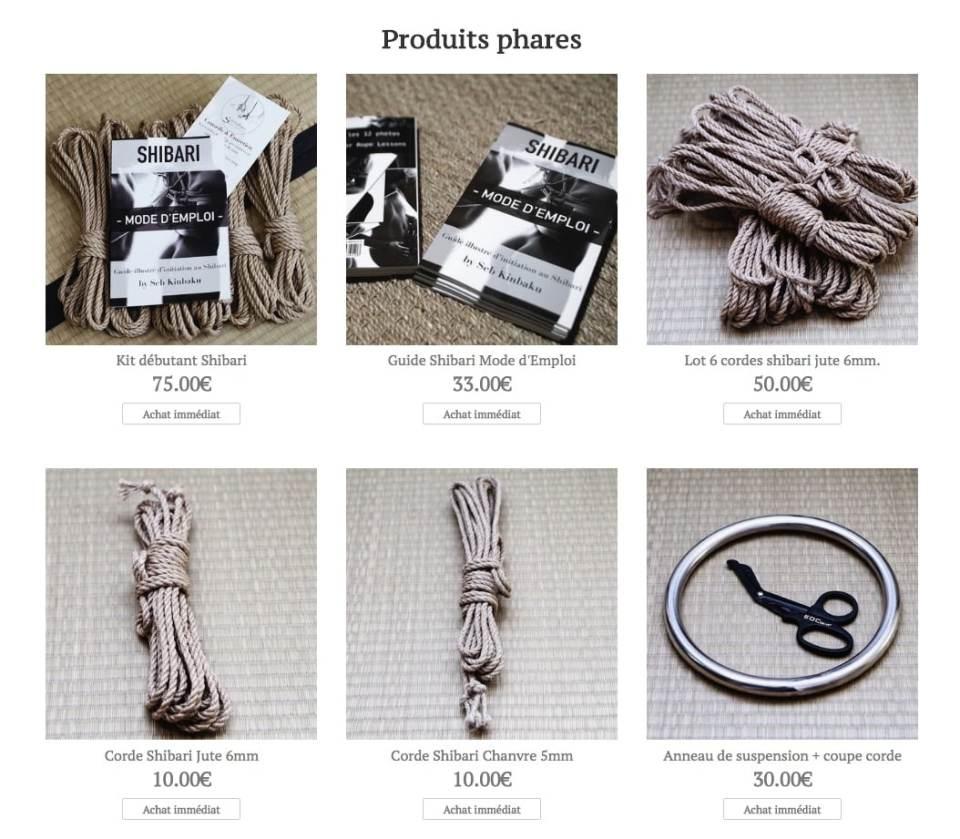 boutique shibari : Corde shibari : Livre shibari : guide shibari : anneau shibari : ciseaux shibari
