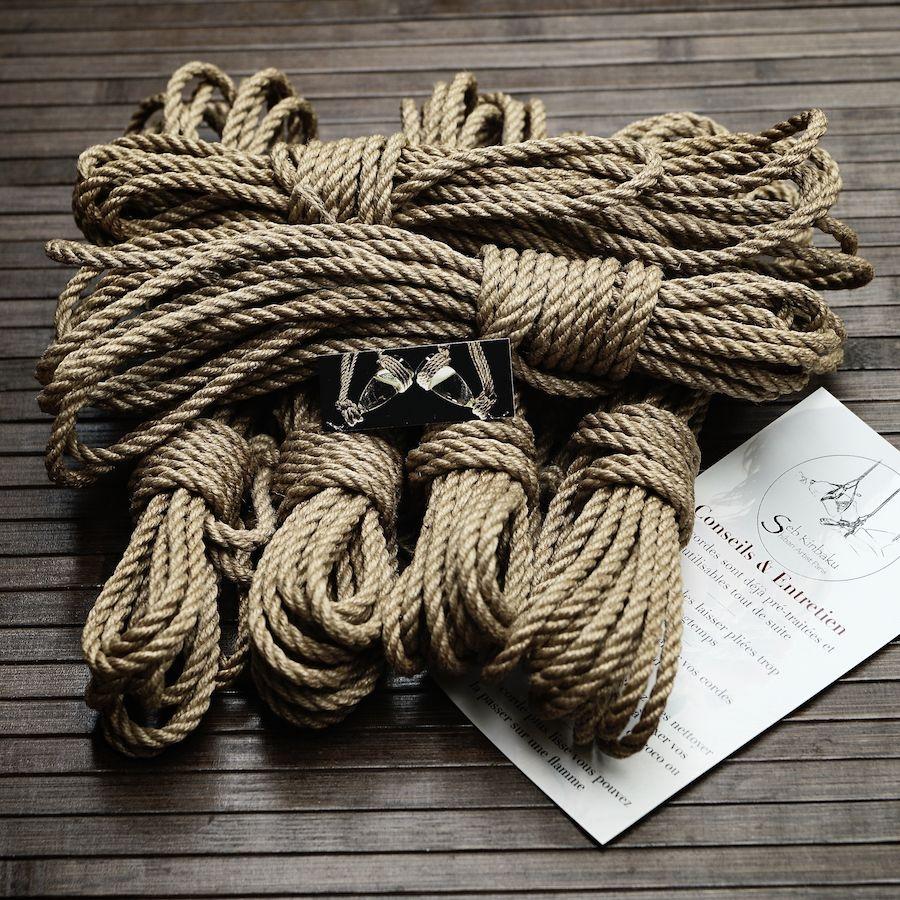 cordes shibari jute naturelle : Lot 6 corde bondage japonais