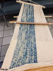 Weaving in progress, using the indigo dyed thread from class