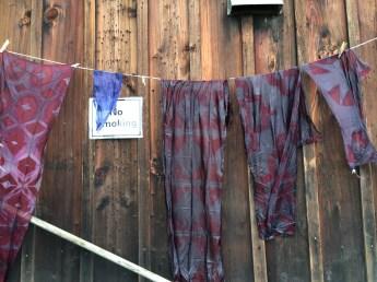 Degummed organza hanging out to dry. Photo Credit: Anu Ravi