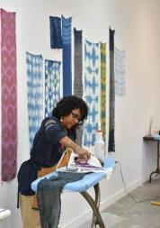 Namita Wiggers getting the fabric ready; Photo courtesy:Arrowmont