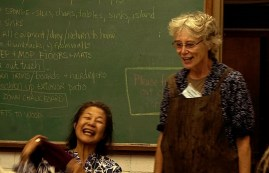 Yoshiko and Catherine share a light moment during the workshop;