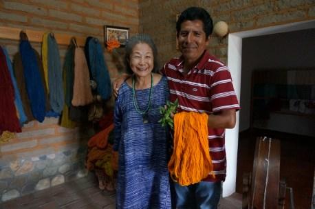 Yoshiko Wada and Jacobo Mendoza first met when Yoshiko came to Oaxaca to film the Natural Dye Workshop II. Jacobo came to the workshop and has since been using many of Michel Garcia's teachings. Photo by Guo Jiang.